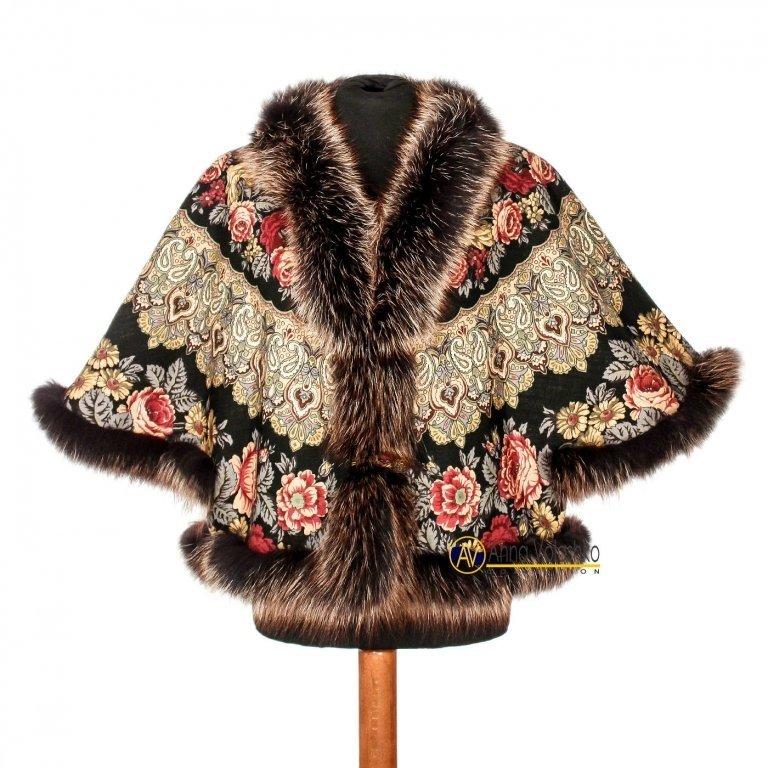 куртка из павлопосадских платков с мехом